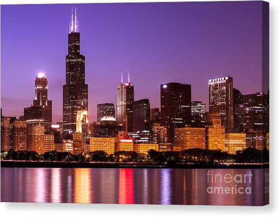 Sears Tower Canvas Print - Chicago Skyline At Night High Resolution Image by Paul Velgos
