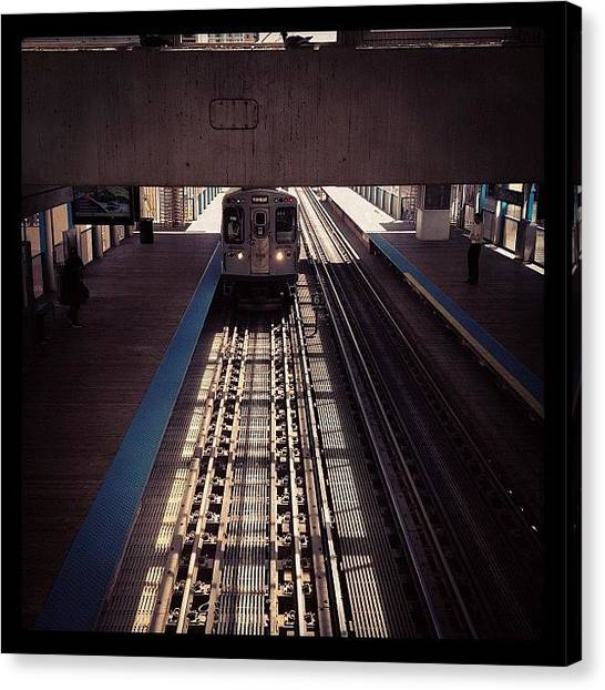 Angle Canvas Print - Chicago Train by Kristin Walsh