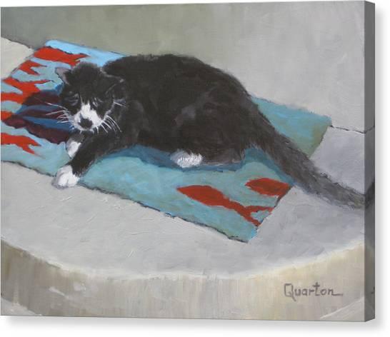 Chicken Dreaming Of Fish Canvas Print by Lori Quarton