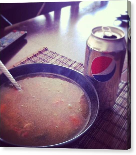Pepsi Canvas Print - #chicken #noodle #soup With A #soda On by Karina Garay