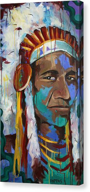 Indian Canvas Print - Chiefing by Julia Pappas