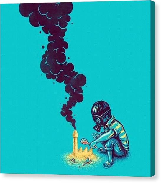Sand Castles Canvas Print - #child #smoke #black #blue #sand by Sofyene Meddourene