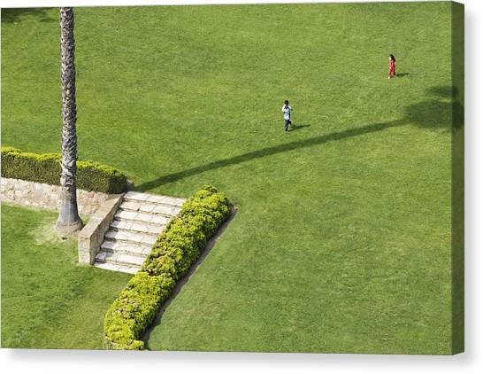Children In Courtyard, Santa Barbara County Courthouse Canvas Print by Andrew Peacock
