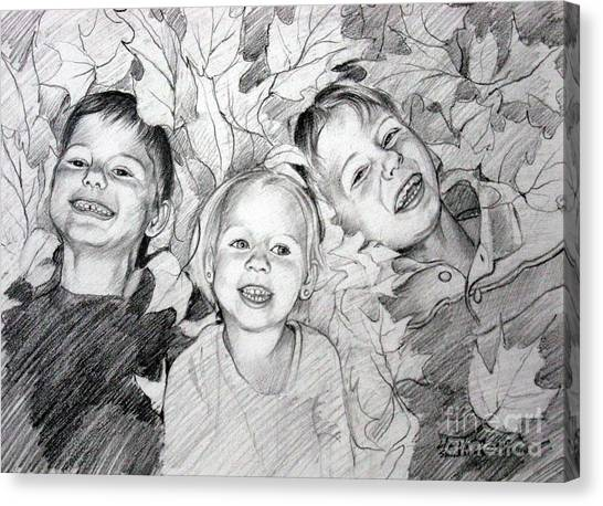 Children Playing In The Fallen Leaves Canvas Print