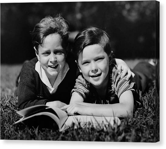Children W/ Book Outdoors Canvas Print by George Marks