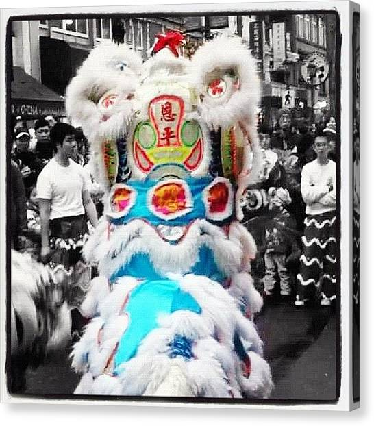 Lions Canvas Print - #china #lion #dance #culture by Victor Wong