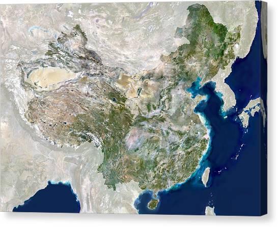 Gobi Desert Canvas Print - China, Satellite Image by Planetobserver
