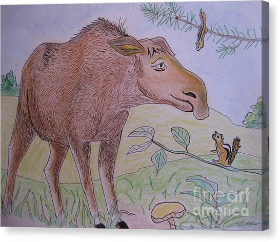 Chipmunks Tease Mildred The Moose Canvas Print