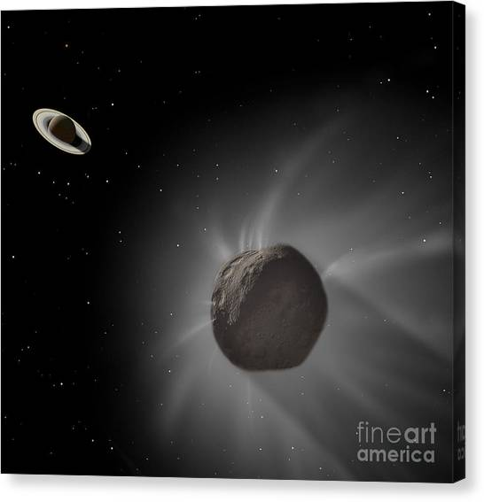 Planetoid Canvas Print - Chiron Passing Near Saturn by Ron Miller