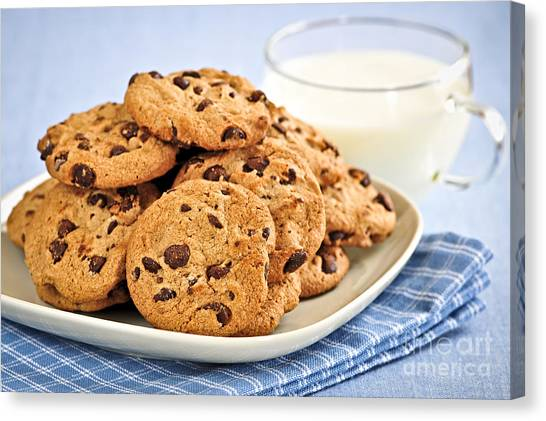 Milk Canvas Print - Chocolate Chip Cookies And Milk by Elena Elisseeva