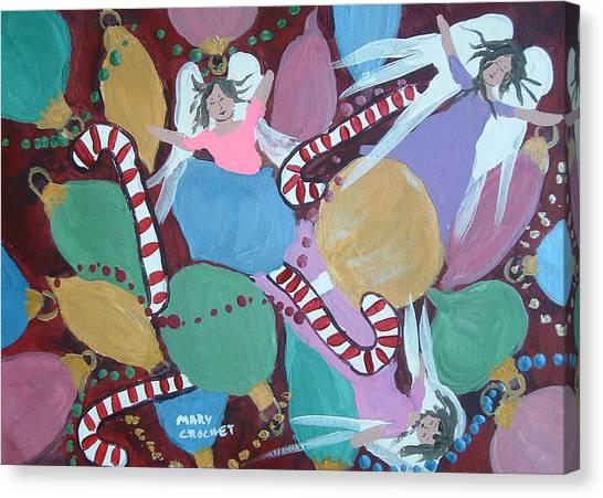 Christmas Bulbs Canvas Print by Mary Crochet