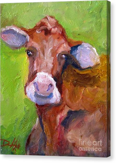 Christmas Cow On Green Canvas Print by Delilah  Smith