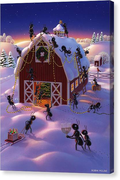 Ants Canvas Print - Christmas Decorator Ants by Robin Moline