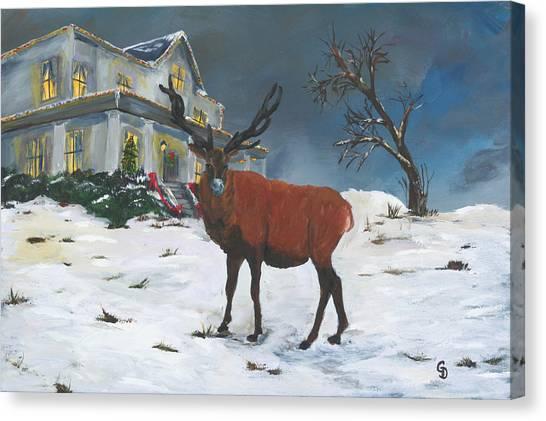 Christmas Elk Canvas Print