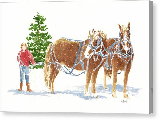 Christmas Horses Canvas Print