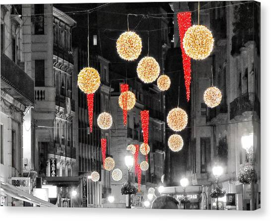 Christmas Lights Canvas Print - Christmas Lights In Alicante by Marianna Mills