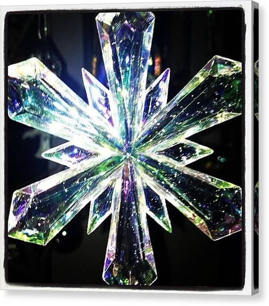 Snowflakes Canvas Print - #christmas #ornament #snowflake #glass by J Michael Bragg Photography