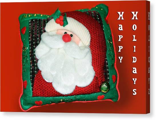 Christmas Santa Pillow Canvas Print by Linda Phelps