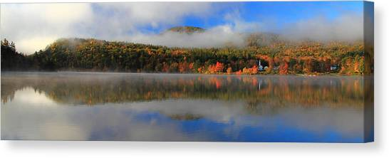 Church Across The Lake-panoramic Canvas Print