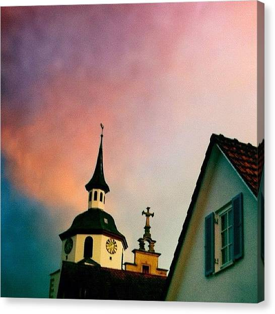 Sunrises Canvas Print - Church And Red Sky At Sunset by Matthias Hauser