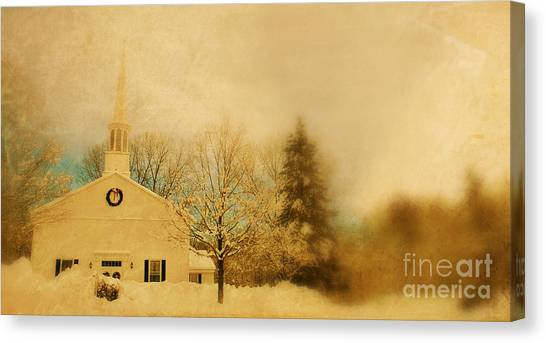 Wreath Canvas Print - Church At Christmas by HD Connelly