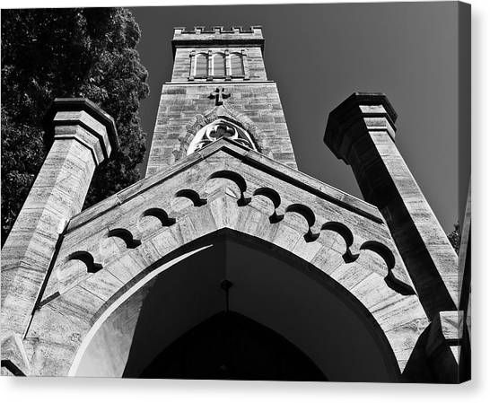 Church Facade In Black And White Canvas Print