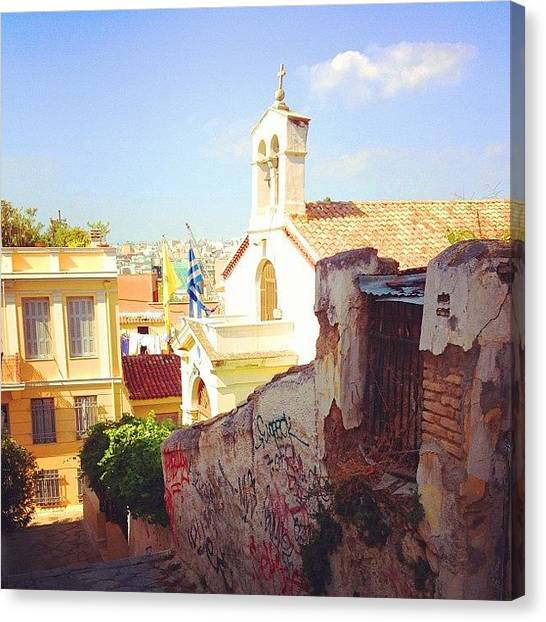 Athens Canvas Print - Church In The Plaka Neighborhood Of by Dimitre Mihaylov