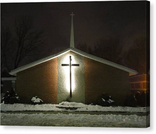 Church In The Snow Canvas Print by Guy Ricketts