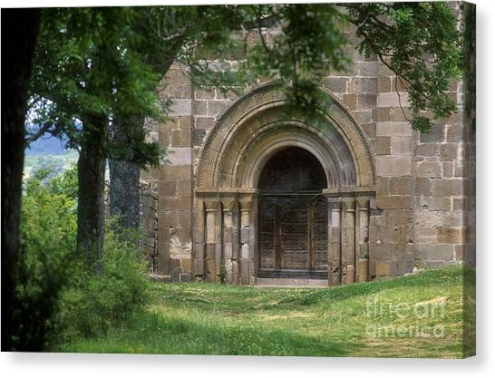Romanesque Art Canvas Print - Church Of Bredons.cantal. France by Bernard Jaubert