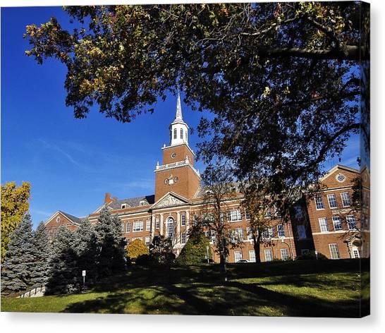 University Of Cincinnati Canvas Print - Cincinnati Blue Skies Over Mcmicken Hall by University of Cincinnati