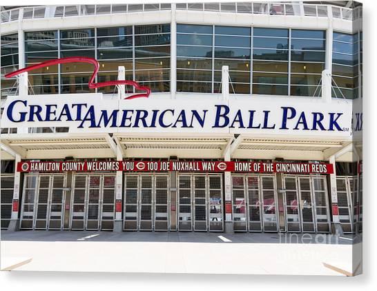 Cincinnati Reds Canvas Print - Cincinnati Great American Ball Park Entrance Sign by Paul Velgos