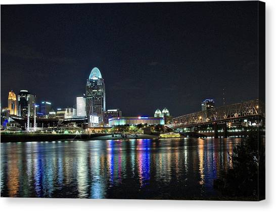 Cincinnati In Lights Canvas Print by Tina Karle