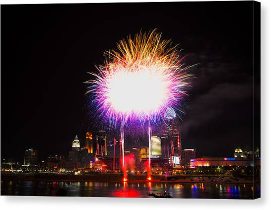 Cincinnati Reds Fireworks - Grand Finale Canvas Print