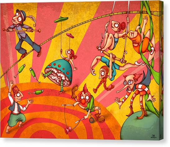 Crazy Canvas Print - Circus 3 by Autogiro Illustration