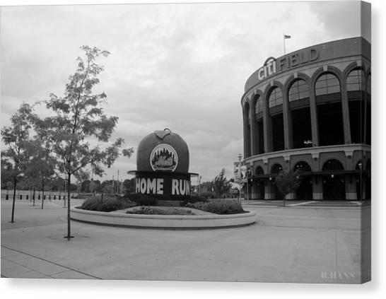 Citi Field In Black And White Canvas Print