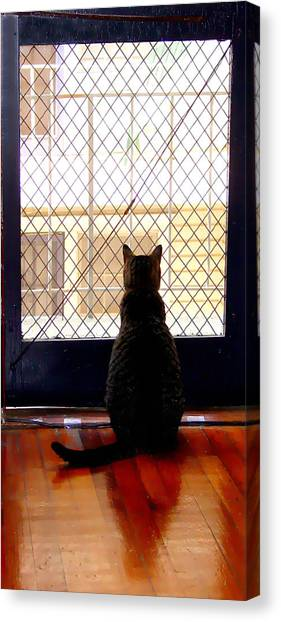 Manx Cats Canvas Print - City Cat by Kathleen Horner