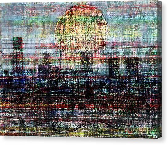 Fabric Of Society Canvas Print - City Limits 3 by Andy  Mercer