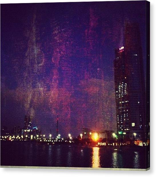 Abstract Skyline Canvas Print - City On Firepaint by George Saad