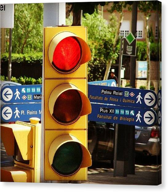 Stoplights Canvas Print - #city #stoplight by Guillermo Villar