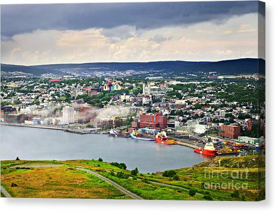 John Boats Canvas Print - Cityscape Of Saint John's From Signal Hill by Elena Elisseeva