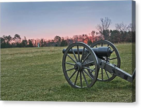 Civil War Cannon At Sunrise - Manassas Battlefield - Virginia Canvas Print by Brendan Reals