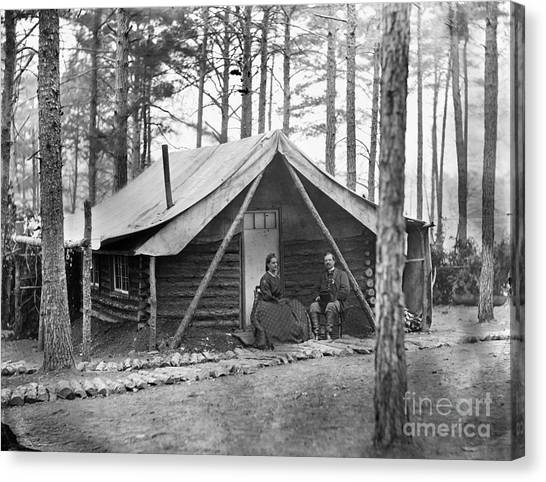 Army Of The Potomac Canvas Print - Civil War: Log Cabin, 1864 by Granger