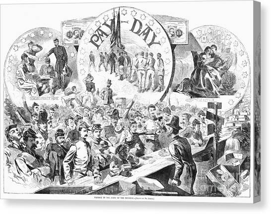 Army Of The Potomac Canvas Print - Civil War: Pay Day, 1863 by Granger