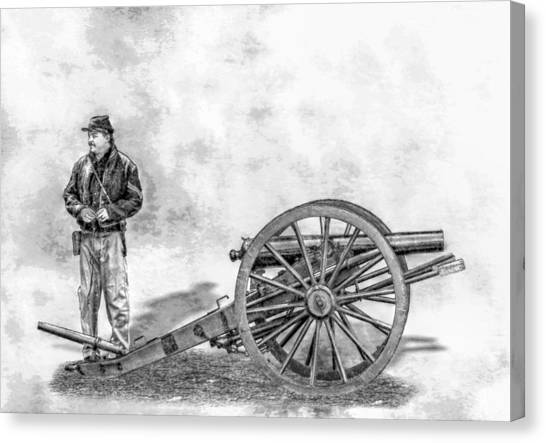 Army Of The Potomac Canvas Print - Civil War Union Artillery Corporal With Cannon Sketch by Randy Steele