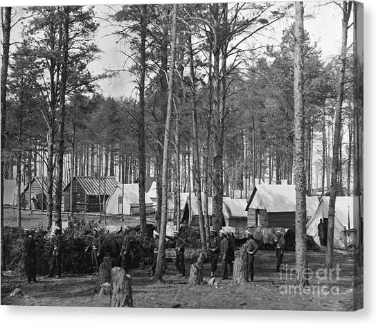Army Of The Potomac Canvas Print - Civil War: Union Camp, 1864 by Granger