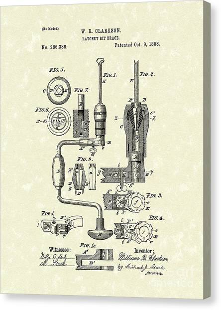 1880s Canvas Print - Clarkson Bit Brace 1883 Patent Art  by Prior Art Design