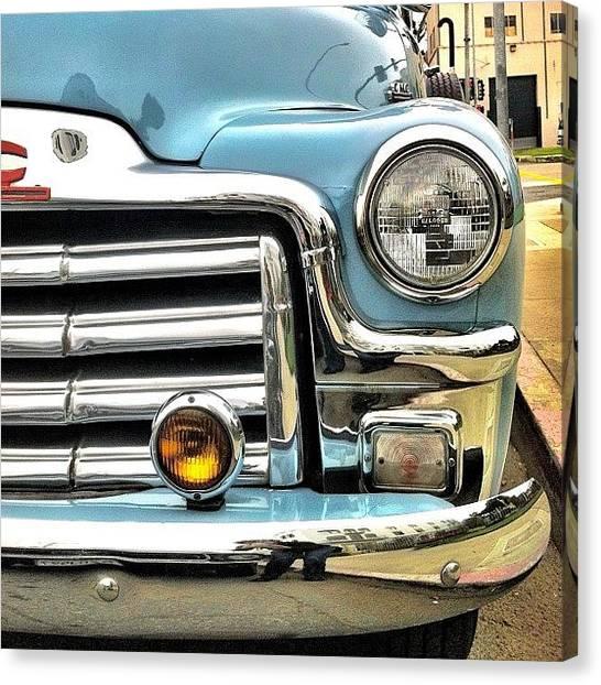 Transportation Canvas Print - Classic Car Headlamp by Julie Gebhardt