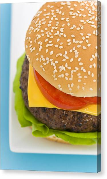 Mayonnaise Canvas Print - Classic Hamburger With Cheese Tomato And Salad by U Schade