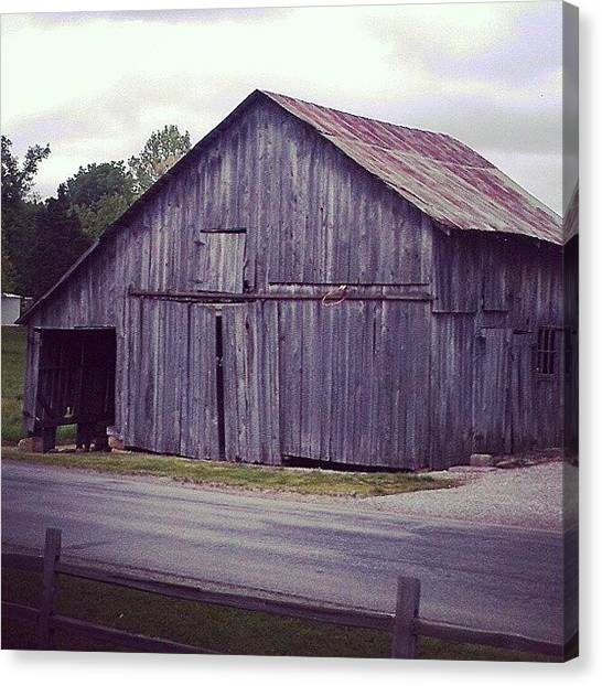 Barns Canvas Print - Classic Indiana Barn, Complete With by Tosha Daugherty