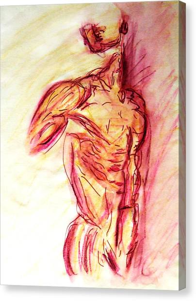 Classic Muscle Male Nude Looking Over Shoulder Sketch In A Sensual Primal Erotic Timeless Master Art Canvas Print